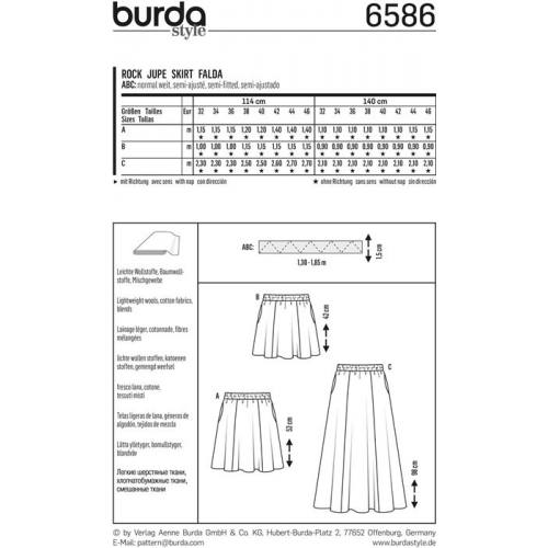 Patron Burda 6586 : Jupe Taille : 32-46