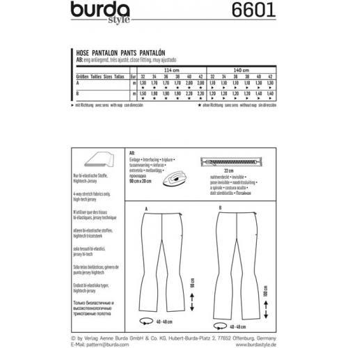 Patron Burda 6601 : Pantalon Taille : 32-42