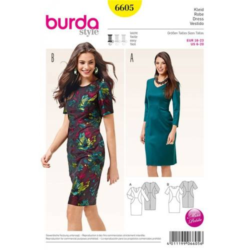 Patron Burda 6605 : Robe Taille : 32-46