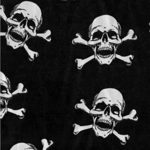 Satin noir grande tête de mort blanche