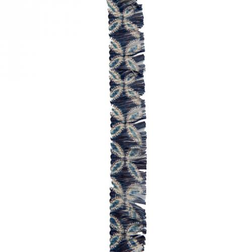 Ruban franges 30 mm fleurs bleu marine