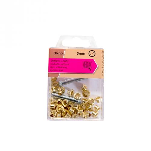 Oeillets 5 mm avec outillage doré x 36