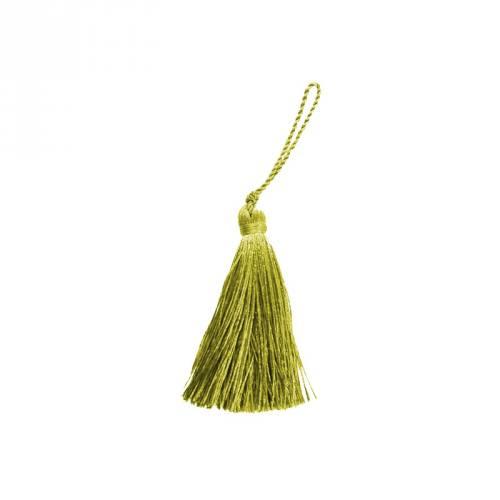 Pompon franges vert tilleul 7 cm