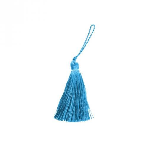 Pompon franges bleu canard 7 cm