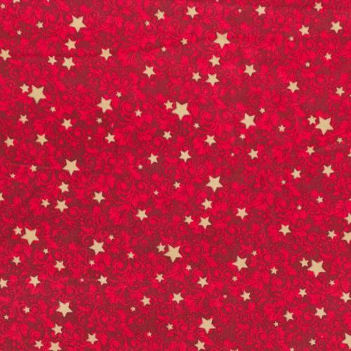 Coton Noël rouge motif étoiles et fleurs