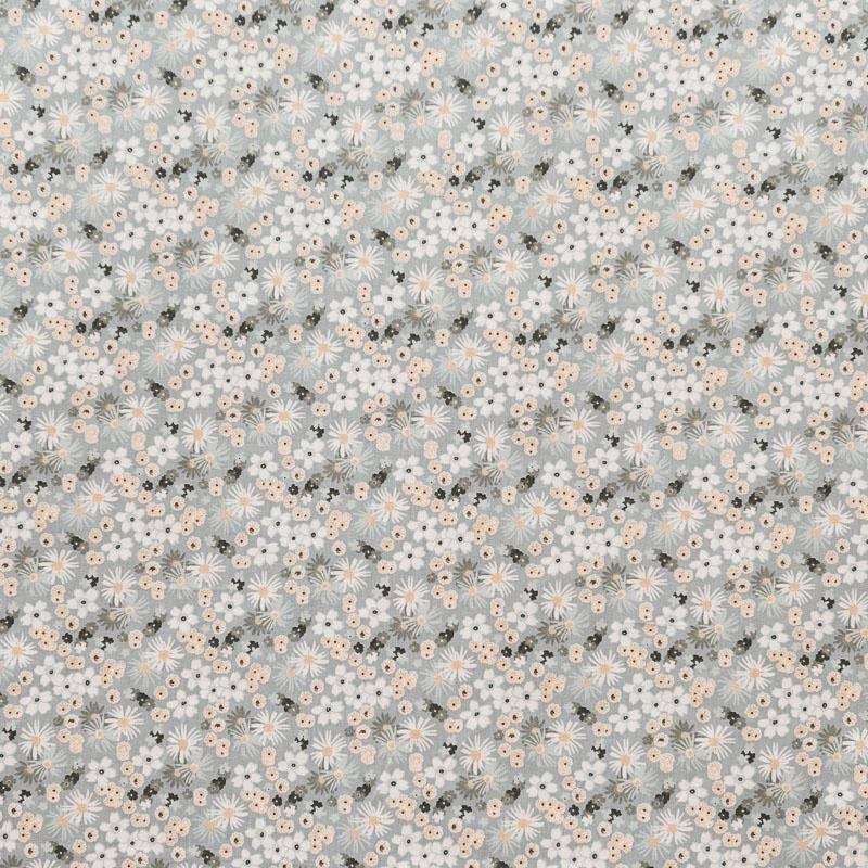 Coton fleurs zinia gris et beige