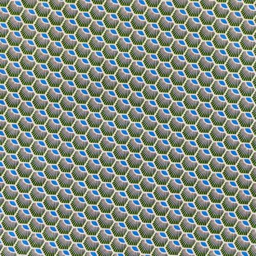 Coton vert motif wax écaille