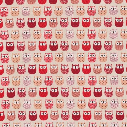 Coton beige motif hiboux rouges