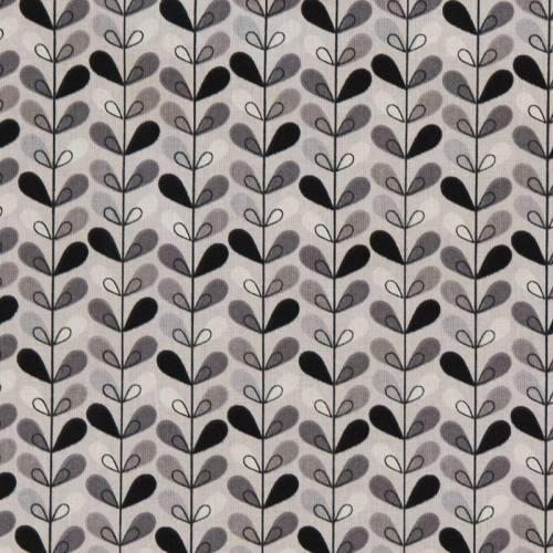 Coton gris motif feuille noire, grise et blanche