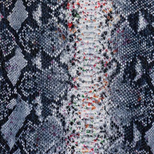 Simili cuir bleu à relief peau de serpent