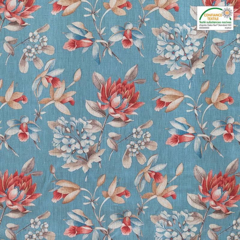 lin turquoise imprim fleurs pas cher tissus price. Black Bedroom Furniture Sets. Home Design Ideas