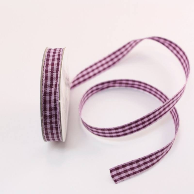 Ruban vichy en bobine violet 9 mm