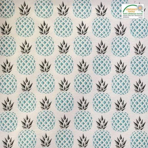 Jacquard écru motif ananas turquoise