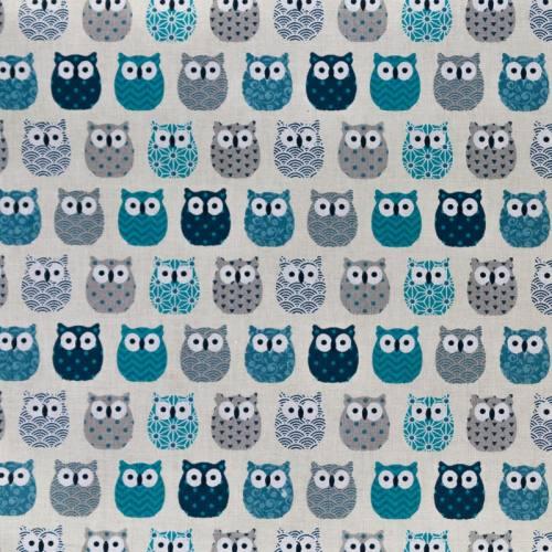 Coton écru imprimé hibou bleu canard et gris