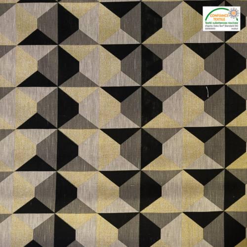 Lin doré, noir et gris motif géométrique