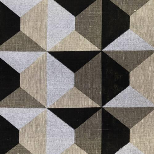 Lin argenté, noir et gris motif géométrique