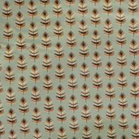 Coton vert de gris imprimé plume orange