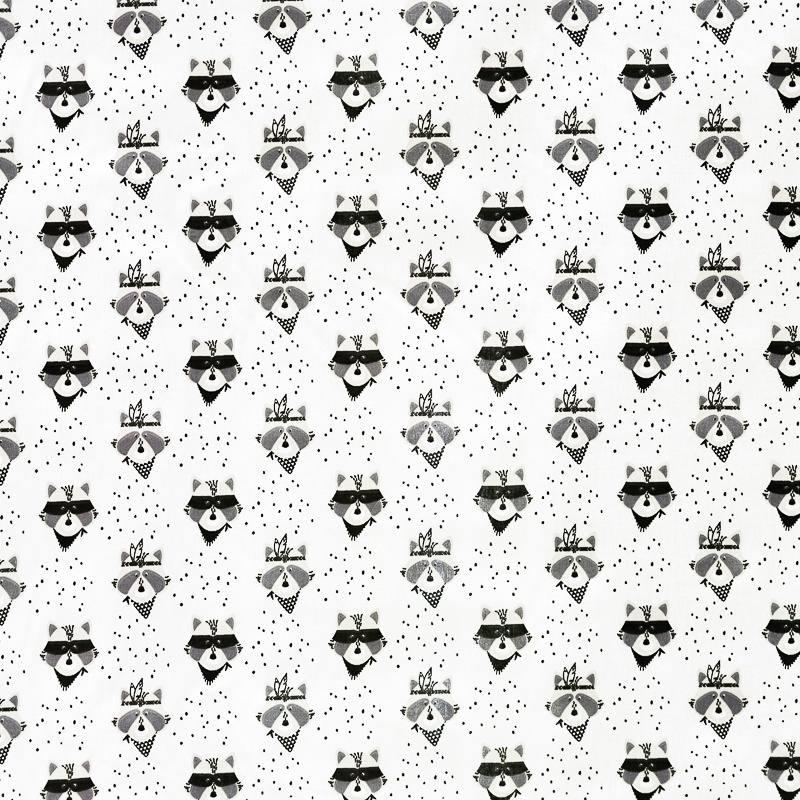 Coton blanc motif raton laveur