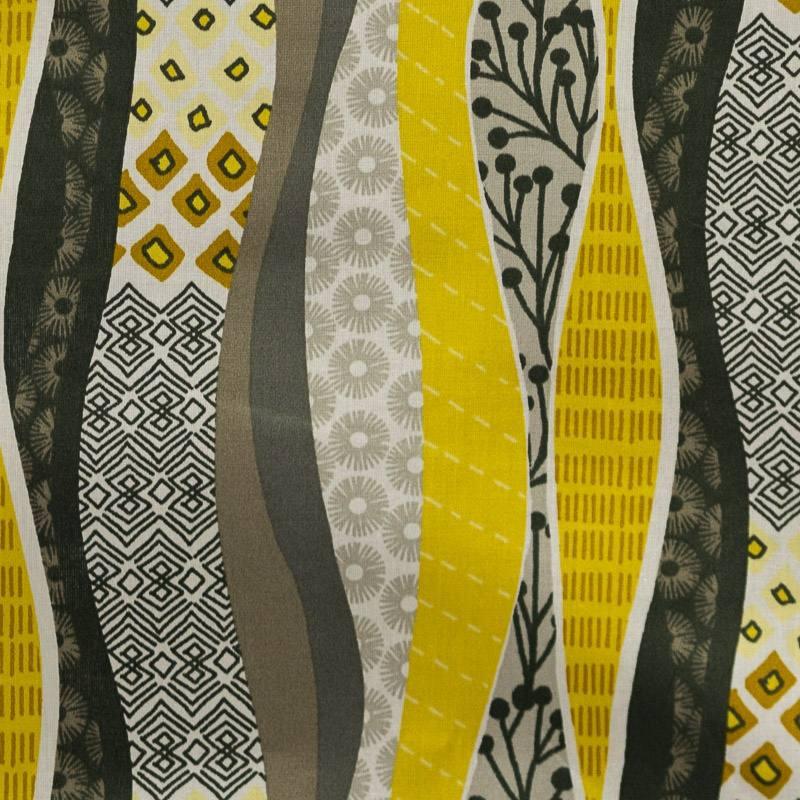 Coton patchwork vintage gris et jaune pas cher tissus price - Tissu ameublement vintage ...