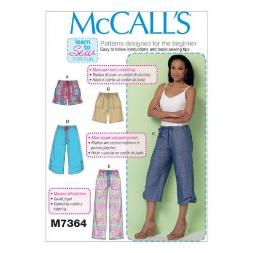 Patron Mc Call's M7364 : Pantalon et short Taille 34-42