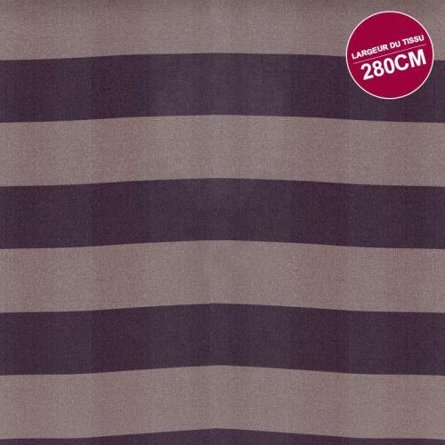 Coton percale imprimé rayures prunes et taupes grande largeur