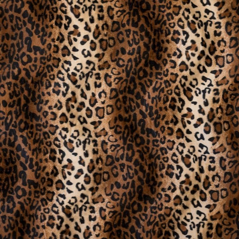 fausse fourrure l opard marron clair et cr me pas ch re tissus price. Black Bedroom Furniture Sets. Home Design Ideas