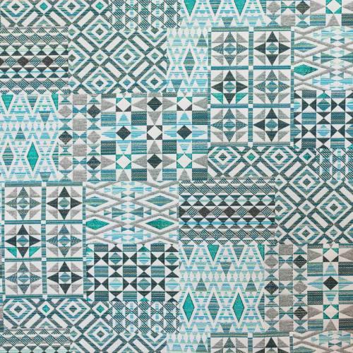 Jacquard bleu et gris motif géométrique