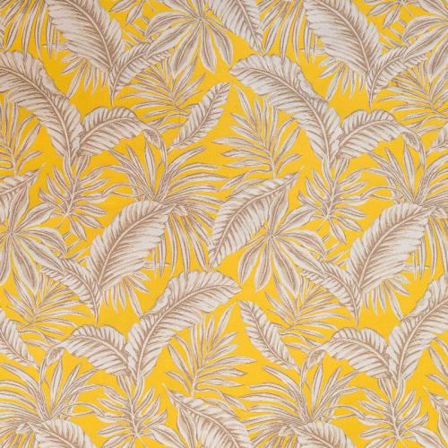 Jacquard jaune moutarde motif végétation