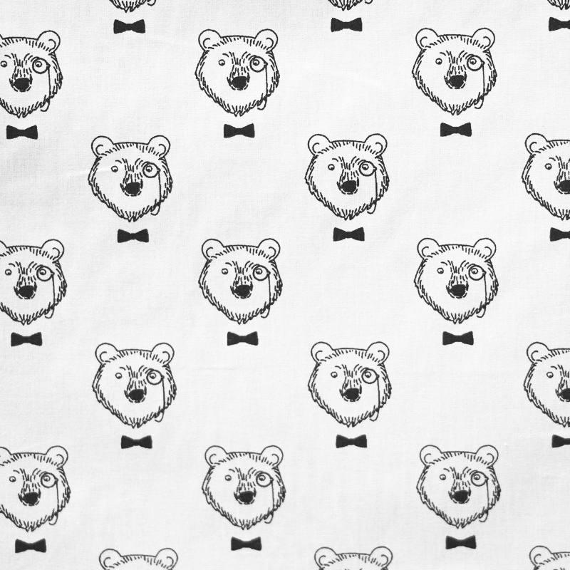 Coton enfant écru motif ourson