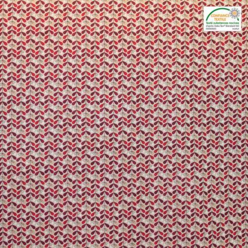Coton beige imprimé feuille rouge, bordeaux et blanche