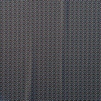 Tissu crêpe bleu marine motif petites fleurs blanches