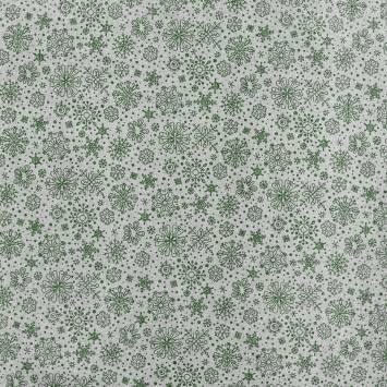 Toile coton Noël motif flocon de neige vert