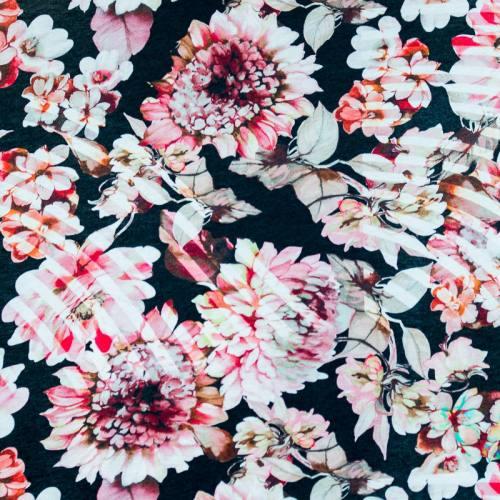 Jersey viscose imprimé fleurs blanches et roses