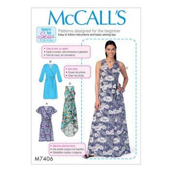 Patron Mc Call's M7406 : Haut et robe 34-42