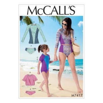 Patron Mc Call's M7417 : Maillot de bain 3-8 ans