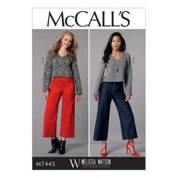 Patron Mc Call's M7445 : Haut et pantalon pour jeune femme 42-50