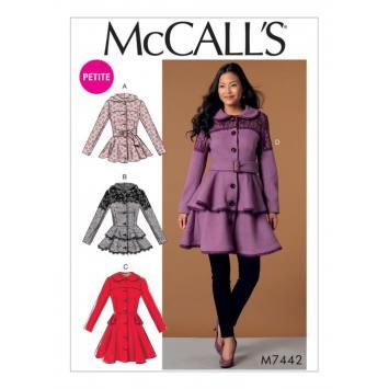 Patron Mc Call's M7442 : Vestes, manteaux et ceinture pour jeune femme 34-42
