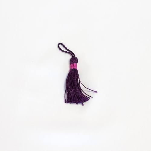 Pompon franges bicolore violet 4 cm