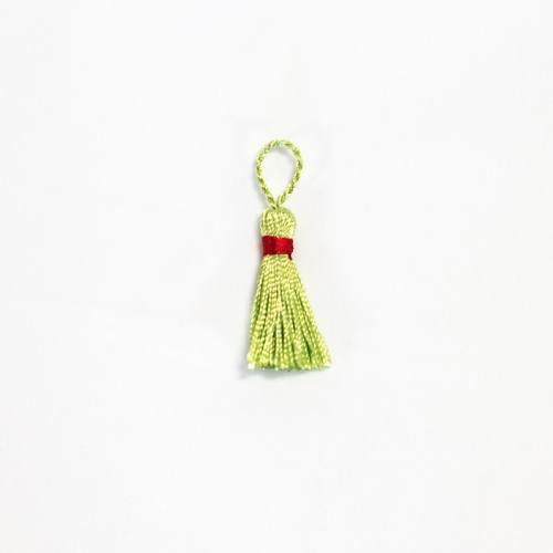 Pompon franges bicolore vert tilleul 4 cm