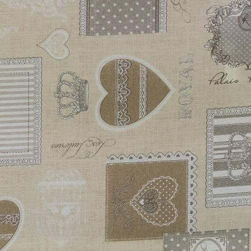 Coton enduit royal beige et gris