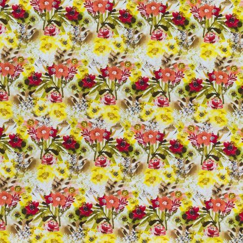 Popeline coton rouge motif grande fleur