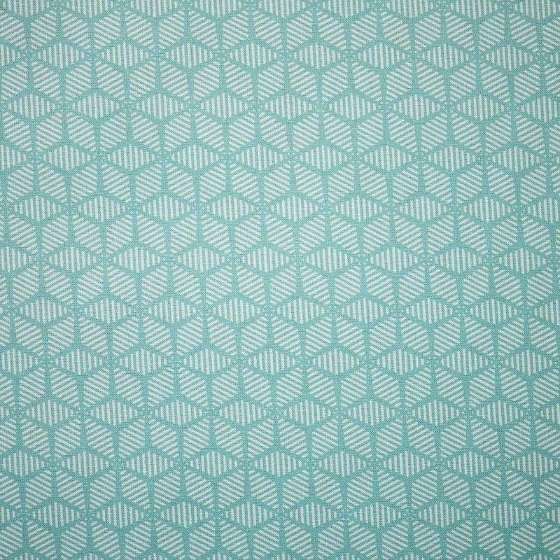 Popeline coton vert d'eau motif scandinave pas cher - Tissus Price