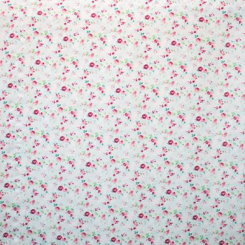Popeline coton bleu pastel motif fleurs