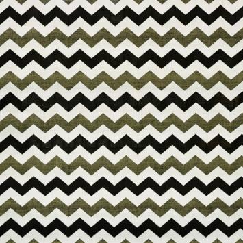 Toile polycoton imprimée zig zag blanche, noire et dorée