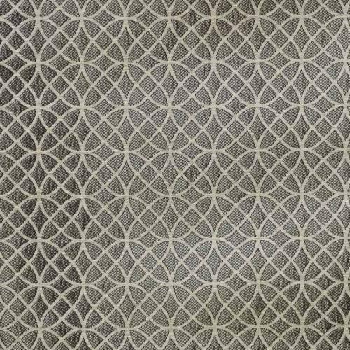 Jacquard argenté motif rosace ivoire