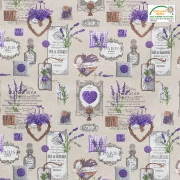 Tissu provençal grège motif Paris lavanda