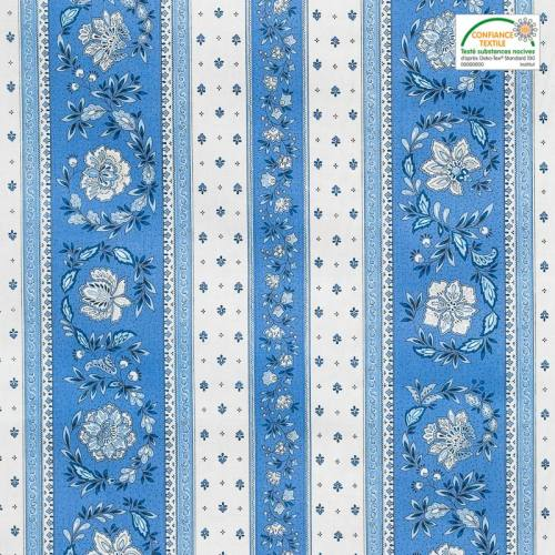 Tissu provençal Vence rayé écru et bleu