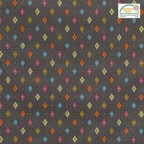 Tissu provençal anthracite motif petit calisson
