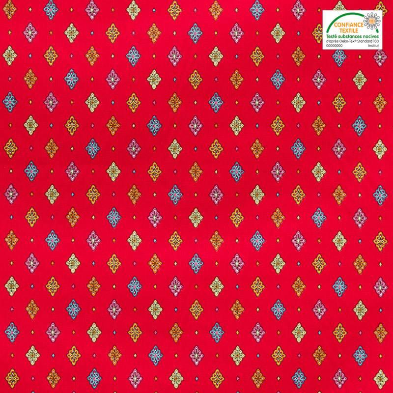 Tissu proven al rouge motif petit calisson pas cher - Tissus rouge pas cher ...