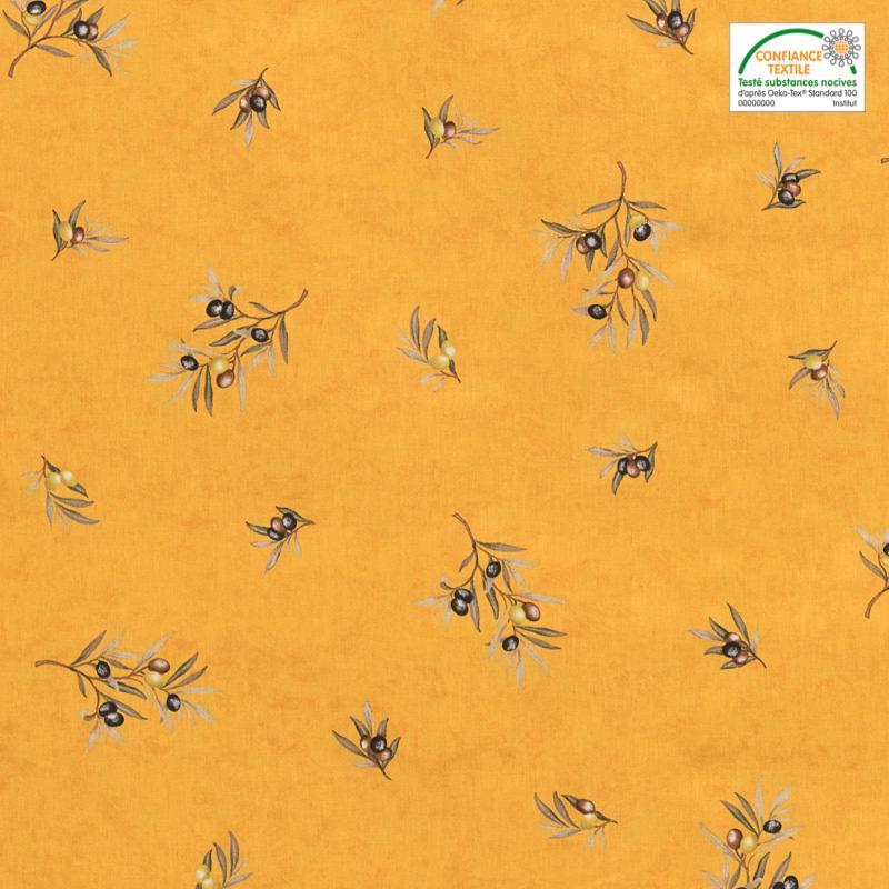 Tissu proven al jaune motif brin d 39 olivier pas cher tissus price - Tissu occultant pas cher ...